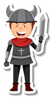 Cavaliere in armatura con adesivo cartone animato spada