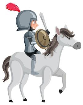 Personaggio dei cartoni animati cavaliere su sfondo bianco