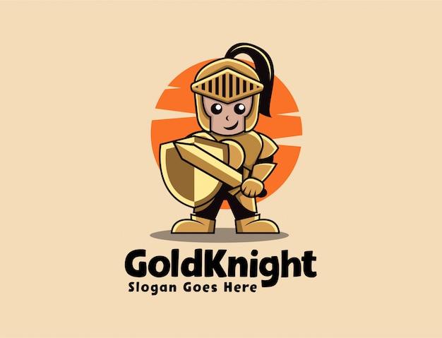 Logo della mascotte dei cartoni animati di cavaliere