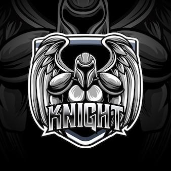 Icona del personaggio del logo di cavaliere esport