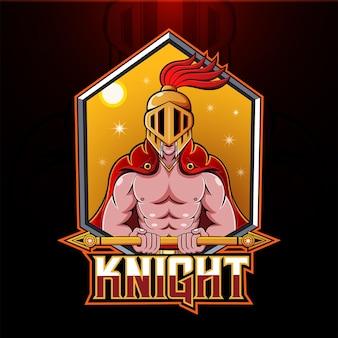 Logo mascotte di cavaliere esport