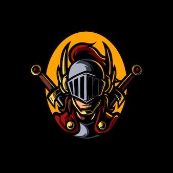 Logo della mascotte di knight head e sport