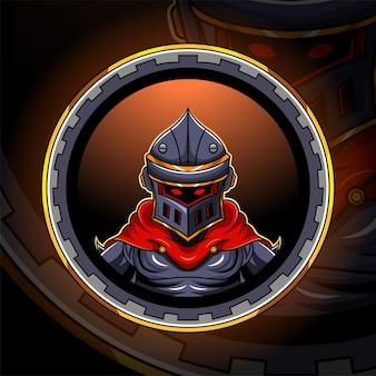 Design del logo della mascotte dell'esportazione della testa del cavaliere