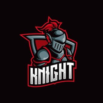 Modello di illustrazione logo knight mascot esport logo.