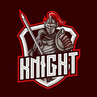 Mascotte del cavaliere logo per esport e sport