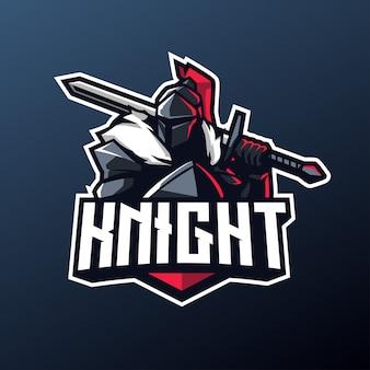 Mascotte del cavaliere per lo sport e il logo esport