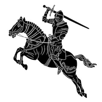 Cavaliere in armatura medievale a cavallo con una spada