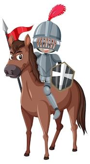 Personaggio dei cartoni animati del cavaliere a cavallo su sfondo bianco
