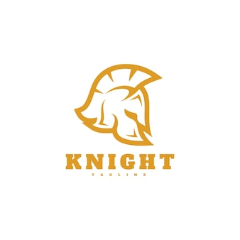 Cavaliere spartano casco testa sagoma icona logo design