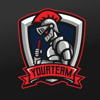 Illustrazione di sport della mascotte del guerriero d'acciaio del cavaliere per la squadra della squadra di gioco di esport di logo