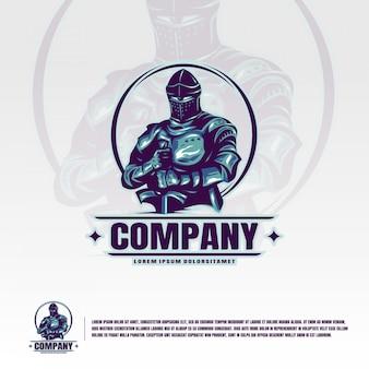 Modello di logo di knight suit