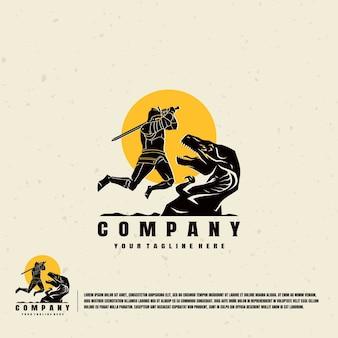 Modello di logo di illustrazione di cavaliere contro dinosauri