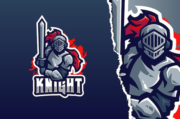 Modello di logo della mascotte del cavaliere guerriero
