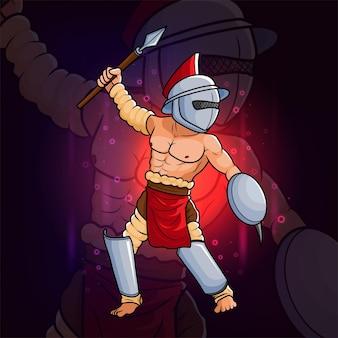 Il cavaliere con la lancia di ferro esport logo design dell'illustrazione