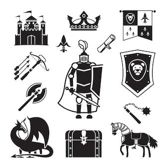 Cavalleria nelle icone del medioevo. armatura medievale antica e stemma, segni vettoriali di cavaliere e elmo