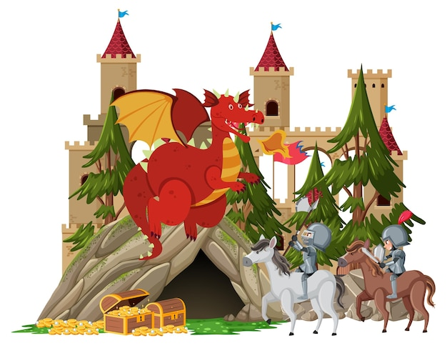 I cavalieri combattono con il drago al castello