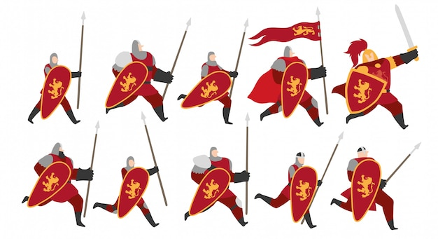 Set di caratteri di cavalieri del leone d'oro