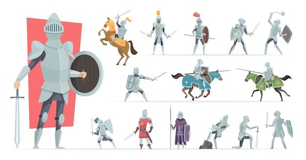 Cavalieri. guerrieri medievali in azione posano personaggi vettoriali di cavalieri corazzati in stile cartone animato. cavaliere medievale in armatura, soldato in elmo, cavalleria militare