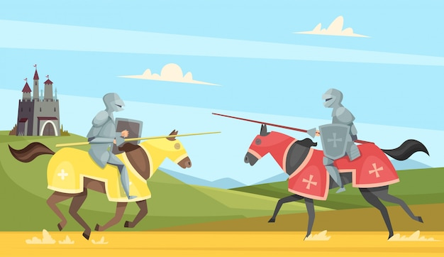 Torneo di cavalieri. principe cavalleresco medievale in brutali armature casco guerrieri a cavallo