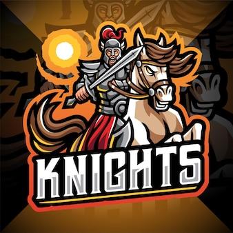 Cavalieri con il logo della mascotte dell'esportazione di salto del cavallo