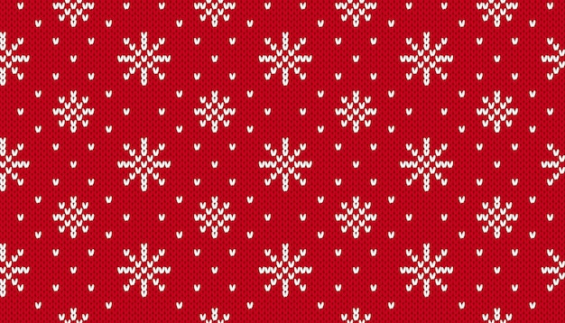 Motivo natalizio a maglia. sfondo senza soluzione di continuità di natale. vettore. trama maglione lavorato a maglia con fiocchi di neve Vettore Premium