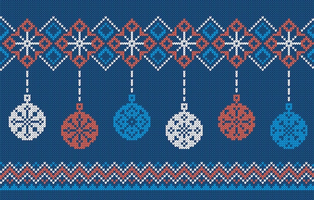 Motivo a maglia con palline di natale. cornice blu senza soluzione di continuità. ornamento brutto di natale. struttura festiva di festa