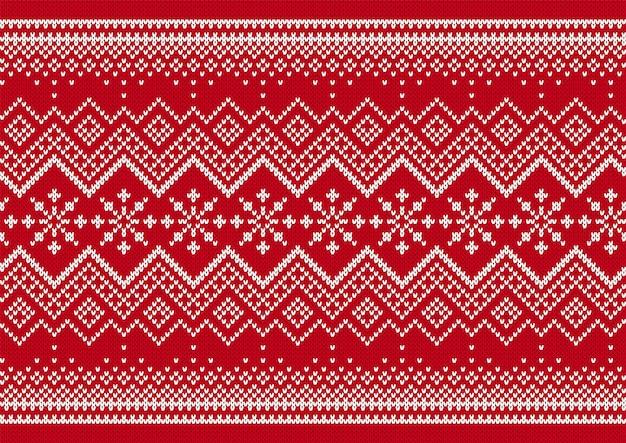 Stampa a maglia. reticolo senza giunte di natale. sfondo rosso maglione lavorato a maglia. trama di natale. illustrazione