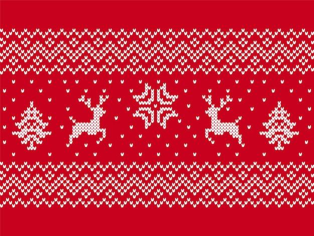 Stampa a maglia con cervi, alberi. natale seamless pattern.
