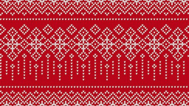 Fondo senza cuciture a maglia. modello rosso di natale. illustrazione vettoriale.