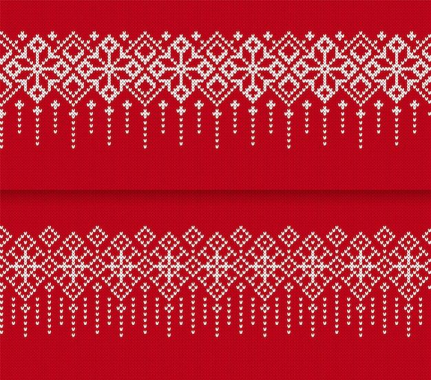 Modello di bordo senza cuciture lavorato a maglia. stampa rossa di natale. illustrazione vettoriale.