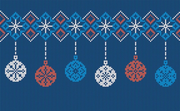 Bordo a maglia senza cuciture con palline. illustrazione vettoriale.