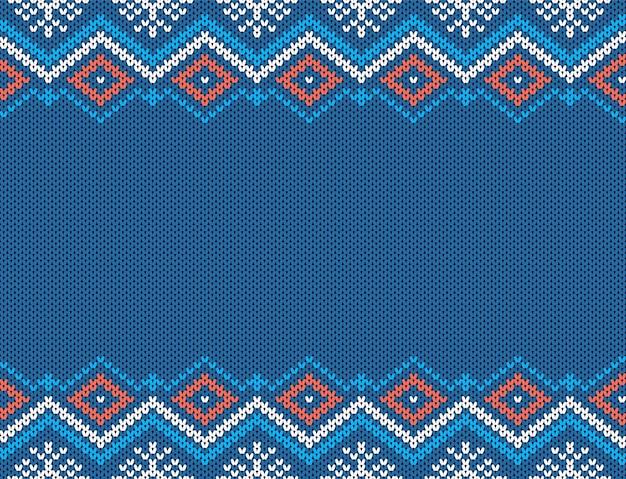 Modello senza cuciture a maglia. struttura blu di natale. sfondo maglione lavorato a maglia. stampa geometrica di natale.