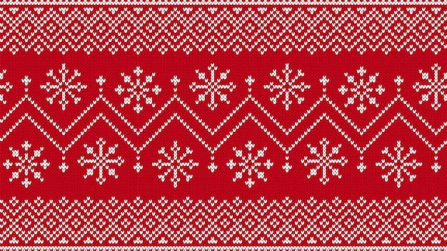 Modello senza cuciture a maglia. stampa di natale. sfondo rosso maglione lavorato a maglia. trama invernale di natale. illustrazione