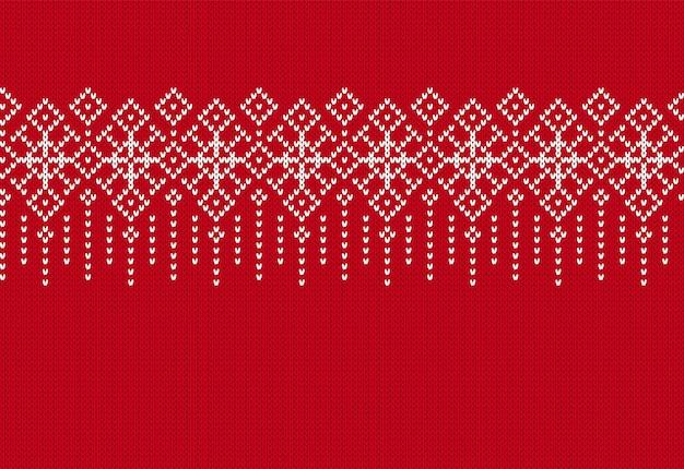 Modello senza cuciture a maglia. stampa rossa di natale. illustrazione vettoriale.