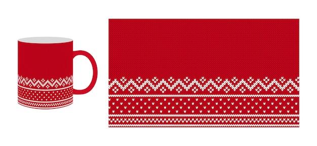 Modello senza cuciture a maglia. tazza e motivo rossi. design per le vacanze invernali.