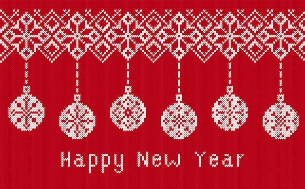 Trama a maglia con testo di felice anno nuovo. illustrazione vettoriale.