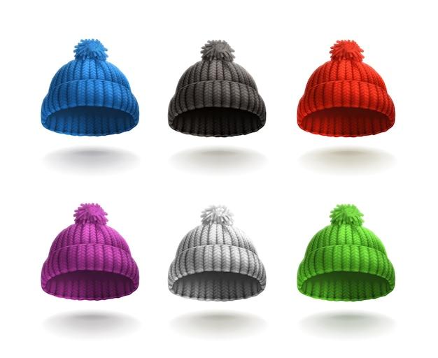 Set di icone berretto lavorato a maglia