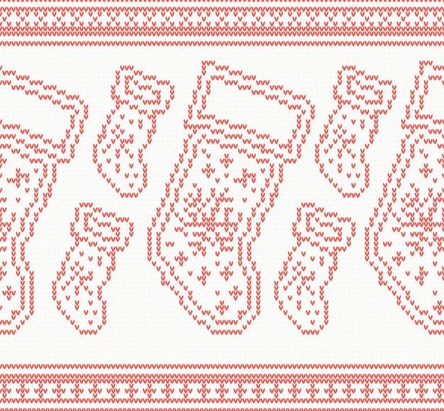 Reticolo senza giunte lavorato a maglia dei calzini di natale nel colore rosso. illustrazione di vettore.