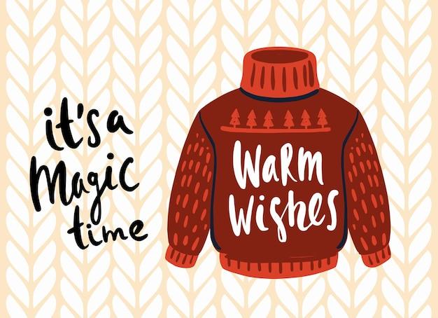 Carta di brutto maglione di natale lavorato a maglia. vestiti divertenti per le vacanze