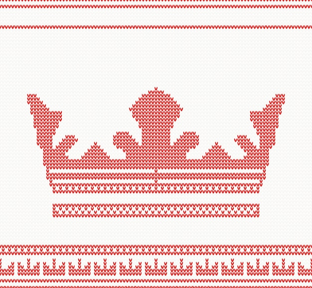 Modello senza cuciture corona lavorato a maglia in colore rosso.