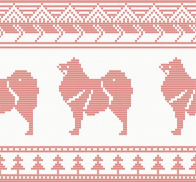 Modello senza cuciture lavorato a maglia del cane in colore rosso. illustrazione di vettore. segno zodiacale per l'anno del cane.