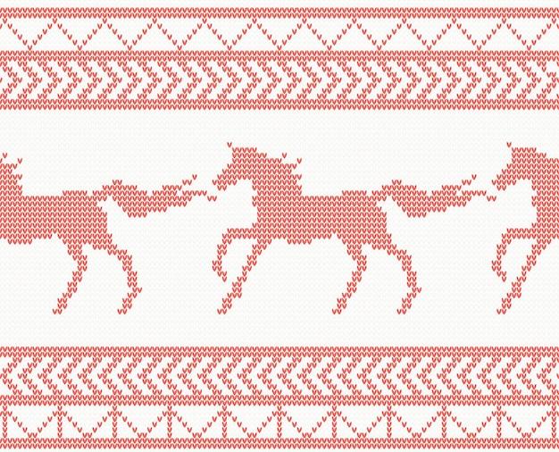 Modello senza cuciture del cavallo lavorato a maglia in colore rosso. illustrazione di vettore.