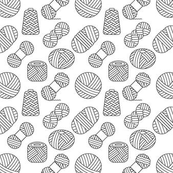 Modello senza cuciture lavorato a maglia di colore bianco disegno ripetuto della linea fatto a mano all'uncinetto lavorato a maglia