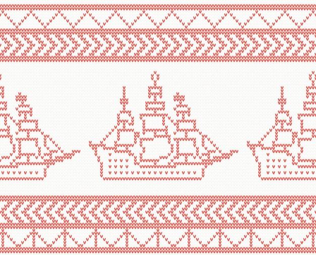 Reticolo senza giunte della nave a maglia in colore rosso. illustrazione di vettore.