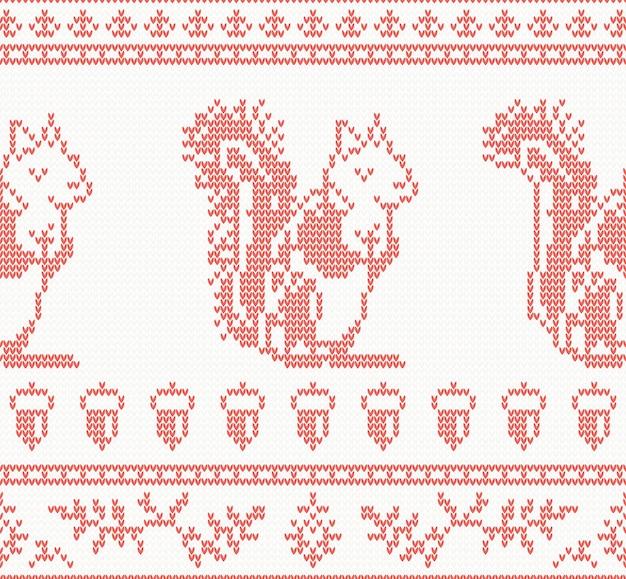 Reticolo senza giunte di scoiattolo lavorato a maglia in colore rosso. illustrazione di vettore.