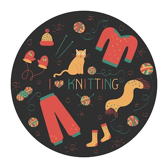 Composizione di icone di linea a mano per maglieria in stile doodle per un negozio di filati o un sarto