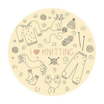 Lavoro a maglia, icone della linea della mano impostate in stile doodle. per un negozio di filati o un sarto. illustrazione vettoriale.