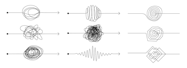 Linea della freccia del nodo. doodle la mentalità del caos, il concetto di disordine con lo schizzo di scarabocchi a mano libera, set di scarabocchi neri. processo di pensiero difficile disegnato a mano di vettore con percorsi di groviglio di frecce di concetto