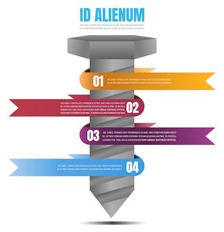 Nodo con etichetta tag infografica