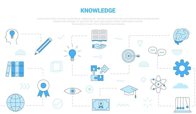 Concetto di conoscenza con l'insegna del modello dell'insieme di icone con l'illustrazione moderna di vettore di stile di colore blu